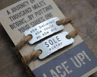 she believed she could so she did  SOLE sisters {Set of TWO shoelace tags}  . running buddy gift  .  running inspiration