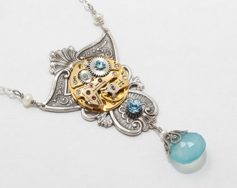 Steampunk Necklace Vintage gold watch movement gears blue crystal, pearl & Chalcedony silver filigree Statement necklace jewelry gift 2436