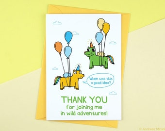 Wild Adventures Card, Funny Card for BFF, Thank you Card, Unicorn Card, Funny Best Friend Card, Thank you for joining me card for friends