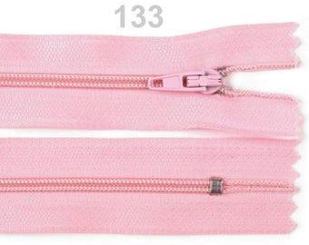 Pink mesh not separable zipper metal 45cm