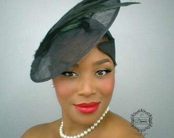 MADE TO ORDER Black Feather Hat, Black Saucer Hat, Sinamay Hat, Mourning Hat, Vintage Classic Hat, Half Hat, Black Pancake Hat