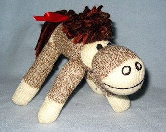 Sock Horse made with 8 inch mini brown sock