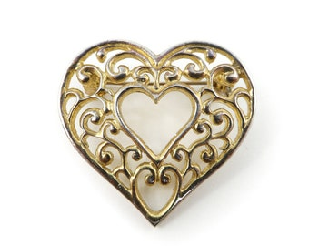 Vintage, Heart Brooch, Detailed, Gold Tone