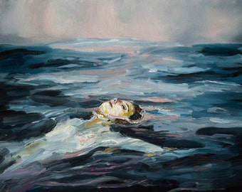 Dusk - Giclee Art Print, Sunset, ocean, oil painting, swimming
