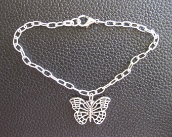 Silver Butterfly Ankle Bracelet