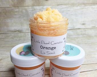 Orange Lip Scrub, Vegan Lip Scrub, Sugar Lip Scrub, Edible Lip Scrub