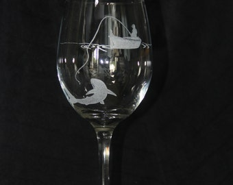 """Hand Etched Wine Glass- """"Gone Fishing"""""""