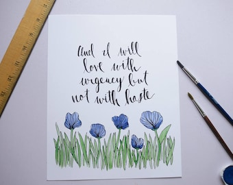 Not With Haste Watercolor Wall Art 8x10 Print Love Mumford and Sons Lyrics