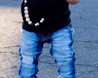 Lisa Jeans - baby , toddler , kids - Girl's hand-distressed skinnies (Sizes 6m-12y) girls clothes , custom jeans for kids , unique kids gift