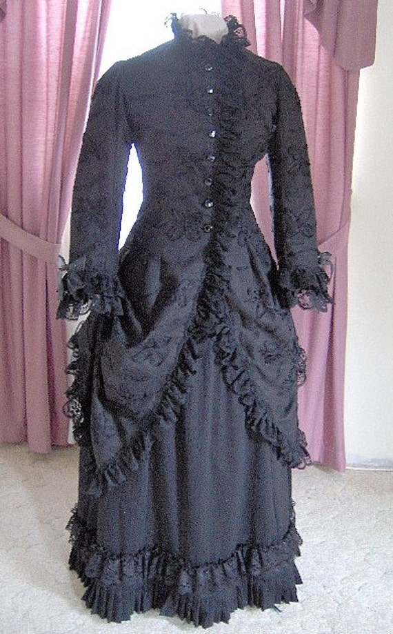 Victorian Costumes: Dresses, Saloon Girls, Southern Belle, Witch Custom 1800s Victorian Dress - 1880s Polonaise Gothic Bustle Gown - Bridal Tea CostumeFOR ORDERS ONLY - Custom Made for You - 1800s Victorian Dress - 1880s Polonaise Gothic Bustle Gown - Bridal Tea Costume $425.00 AT vintagedancer.com
