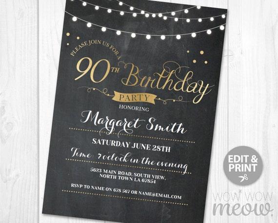 90th Birthday Invitation Elegant Ninety Invitations Party
