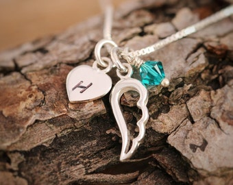 Sterling Silver Angel Wing Necklace, Sterling Silver Wing Necklace, Heart Necklace, Initial Necklace,Birthstone Necklace, Gift for Her