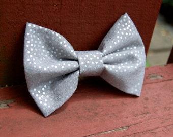 Gray Metallic Polka Dot Pebble Bow