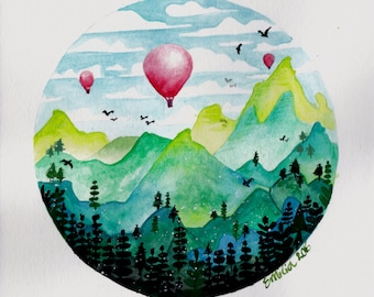 Fantasy World Painting Red Hot Air Balloons Watercolor Painting MADE TO ORDER