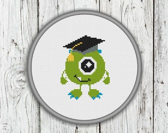 Cute Graduation Monster Counted Cross Stitch Pattern, Green Monster Needlepoint Pattern - PDF, Instant Download
