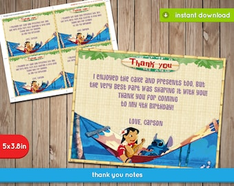 Lilo and Stitch Thank You Card - Printable Food Label Tent, decoration, favors - Text Editable - INSTANT DOWNLOAD