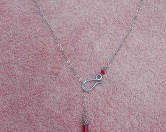 Sterling Red Crystal Shaped Necklace