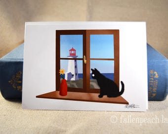 Black Cat at the Lighthouse - Sammy the Cat New England Greeting Card