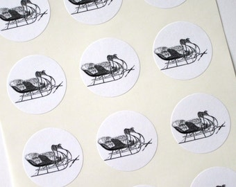 Sleigh Stickers One Inch Round Seals