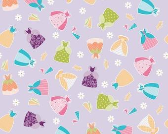 04473 - Riley Blake Dream a Wish C4814  Dresses in purple   fabric- 1/2 yard