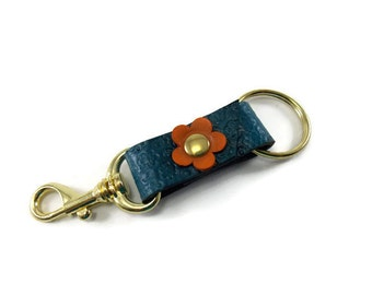 Leather key ring, key ring, key fob, key chain, blue key ring, blue key chain, flowery key fob, key holder, leather key holder, Easter gift