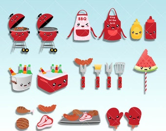 King of the grill Kit, Backyard Barbecue kawaii clipart set, Digital graphics great for Party graphics or Planner stickers, paperclips.