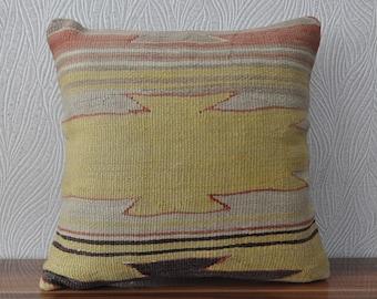 16x16 aztec kilim pillow cushoin cover anatolian kilim pillow home decor  decorative kilim pillow 16x16 turkish kilim pillow No 768