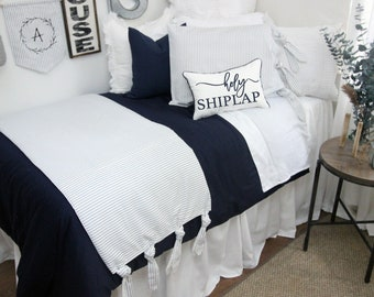 Solid White Dorm Bed Skirt & Headboard Bundle