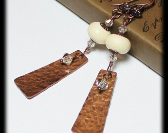 Nutmeg Creme... Handmade Jewelry Earrings Beaded Lampwork Glass Crystal Ivory Cream Hammered Antique Copper Dangle Lightweight Long Earthy