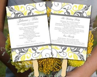 "DIY Wedding Template Printable Program Fan, Yellow Gray Wedding Program Order of Ceremony, Instant Download Microsoft Word Template ""Bella"""