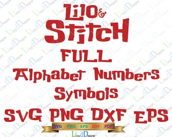 Lilo and Stitch Font SVG Alphabet Lilo and Stitch Letter Numbers Birthday Decor Party Invitation Shirt svg png eps dxf cut file Cameo Cricut