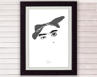 Tupac poster 2pac art rap poster tupac art music art gift
