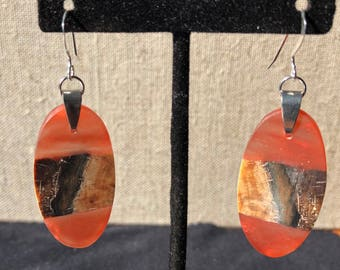 Beautiful Spalted Birch and Red Resin Earrings