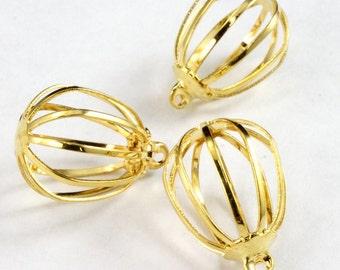 18mm Gold Cage Pendant (4 Pcs)  #2836