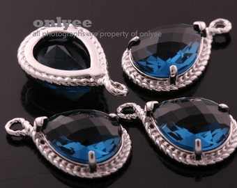 6pcs-19mmX12mmRhodium Faceted tear drop glass with rope rim pendants-Montana(M316S-H)