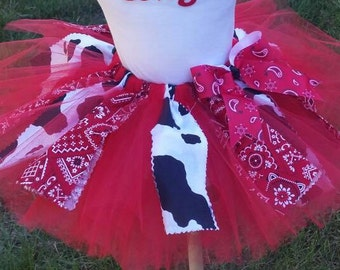 Cowgirl Tutu, Cowgirl, Skirt, Cowgirl Outfit, Cowgirl dress up, Cowgirl Halloween Outfit, Halloween Costume Baby,  Sizes  9 Months - 4T