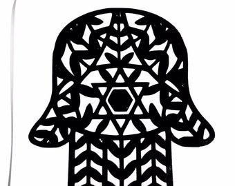 DIY Hamesh Hand Vinyl Decal, Hamsa Hand, Jewish Symbol, Laptop Decal, Car Window, Notebook Decal, Cell Phone, Drinkware