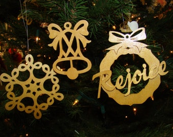 Christmas Ornament Set of 3 Hand Guided Wooden Scroll Art Hostess Gift