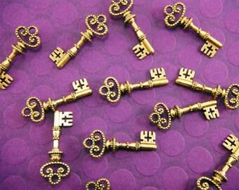 10 Gold Key Charms, 31mm x 14mm CH007