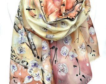Hand Painted Scarf. Bridesmaid Gift. Woman Birthday Present. Silk Painting. Birch Trees. Wearable Art  Elegant Scarf. 18x71in. MADEtoORDER