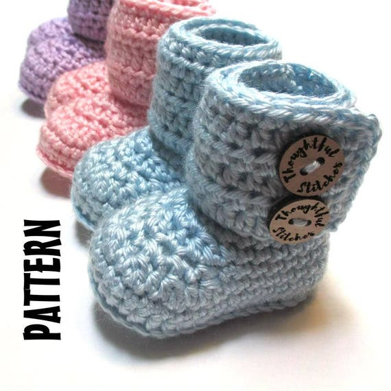 CROCHET PATTERN Baby boots. Crochet pattern baby booties 0-3 months ...