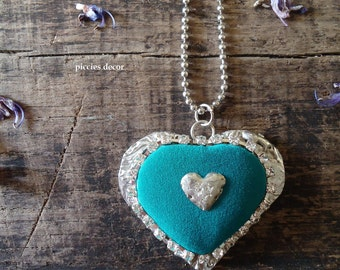 Tin Necklace – Turquoise silk Heart – handmade jewel – tin pendant-necklace-Gift for you-mother's Day-antique style