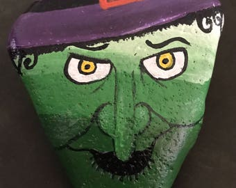 Green Candy Corn Witch Painted Rock, Collectible, Art, Halloween and Home Decor & Gift @MoonRocksArt