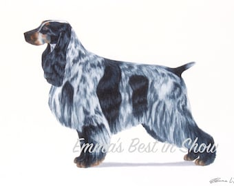 English Cocker Spaniel Dog - Archival Fine Art Print - AKC Best in Show Champion - Breed Standard - Sporting Group - Original Art Print