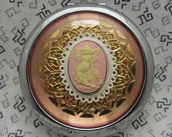 Compact Mirror The Flower Fairy on Pink Comes With Protective Pouch Gift For Her