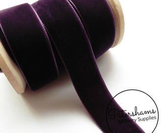 22mm Berisfords Velvet Ribbon for Millinery, Hat Trimming & Crafts 1 metre (1.09 yards) - Plum (9581)