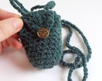 Green Wool Coin Purse Necklace, Long Strap Mini Bag, Crochet Pouch, Green Coin Pouch - Free Shipping Domestic