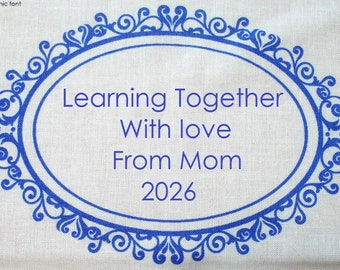 Quilt Label - Botanical Blues #4, Custom Made and Hand Embroidered