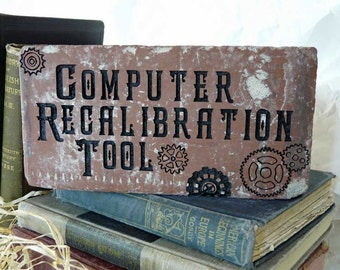 Computer Recalibration Tool Original Design Engraved Red Decorative Brick