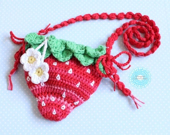 Strawberry bag - crochet colorful cute kawaii little girl kid fun party princess flower rainbow fruit lipstick candy lollipop purse small